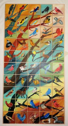 50 state birds classroom auction project...acrylics and watercolor on wood tiles.