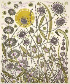 Skye Sun - linocut by Angie Lewin - printmaker