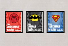 INSTANT DL - Superhero Childrens Bathroom Art Prints, set of 3 - printable 8x10 inch jpeg - digital file