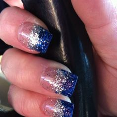 Blue tips with blue, silver and multi-color acrylic nail powder! fashion | Nail acrylic nail powder