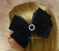 "Dressy Extra Large Black Velvet Hair Bow with Rhinestone Center - 6"" -  Holidays, Weddings, Special Occasion Hair Bow for Women and Girls"
