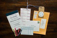 wedding invitation - teacher inspired - notebook paper, pop quiz, attendance report