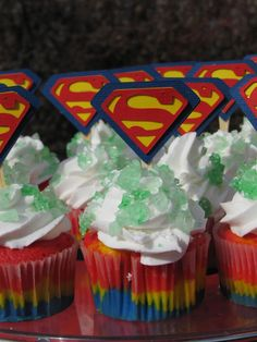 Superman Party - check out these cupcakes! Superman Birthday Party, Superhero Party, Boy Birthday, Birthday Parties, Birthday Ideas, Happy Birthday, Cupcakes Superman, Cupcake Party, Cupcake Ideas