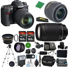 Nikon D7000 - International Version (No Warranty), 18-55mm f/3.5-5.6 DX VR, Nikon 70-300mm f/4-5.6G, 2pcs 16GB Memory, Case, Wide Angle, Telephoto, Flash, Battery, Charger -- For more information, visit image link. (This is an Amazon Affiliate link)