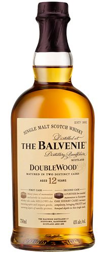 The Balvenie DoubleWood is a 12 year old single malt which gains its distinctive character from being matured in two woods. Over its period of maturation it is transferred from a traditional oak whisky cask to a first fill European oak sherry cask. Each stage lends different qualities to the resulting single malt ~ the traditional casks soften and add character, whilst the sherry wood brings depth and fullness of flavour.