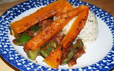 Vegan Recipe for Thai Inspired butternut squash with satay sauteed veg and coconut rice