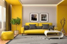 Living Room Colors, Living Room Modern, Home Living Room, Living Room Furniture, Living Room Designs, Living Room Decor, Bedroom Decor, Yellow Interior, House Colors