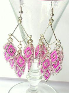 Chandelier Earrings, Beaded Dangle Earrings, Belly Dance Earrings, Bellydance Accessory, Belly Dance Costume, Custom Colors, Prom 2015  $36.45