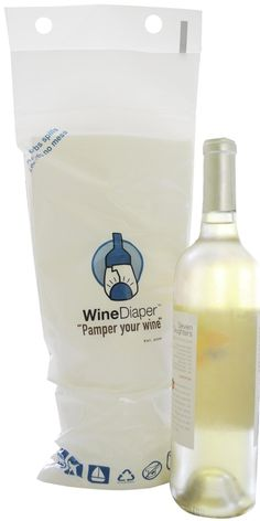 Wine Diaper Reusable Padded Absorbent Bag, Eco-Friendly Travel Accessory, Set of 3