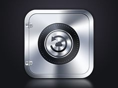 Very modern and technological. The chrome feel is cold like a safe is. The small cloud icon differentiates this safe from other icons with safes on it.
