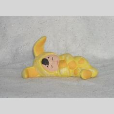 Yellow Bunny Child Ceramic Figurine. Hand Painted. Great Easter/Ostara Decoration. | Scott's Marketplace