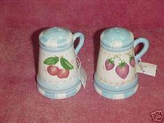 "Apples & Strawberries Salt & Pepper Shakers . $10.00. 3-1/4/4"" tall. New in box"