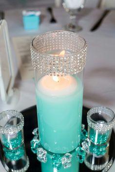 "My wedding reception centerpieces I created!! ""Tiffany Blue theme """