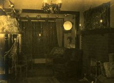 A room decorated for Halloween in Cleveland, Ohio, ca. 1910s-20s