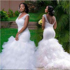 2020 New African Full Beading Sexy Illusion Mermaid Ruffle Wedding Dress Bride Bridal Custom Made Wedding Gowns Tulle Wedding Gown, 2016 Wedding Dresses, Designer Wedding Dresses, Mermaid Wedding, Bridal Dresses, Dresses 2016, Ruffled Dresses, Lace Wedding, Bridesmaid Dresses
