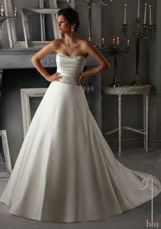 Свадебные платья от Blu путем Mori Lee Style 5274 Кристалл Бисероплетение на Герцогиня атласа Свадебное платье