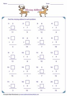 Find the missing addend in each problem.