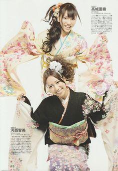 AKB48 members Aki Takajo and Tomomi Kasai make a splash in Kimono