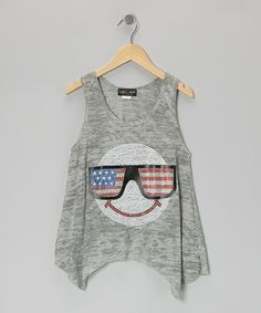 Take a look at this White & Gray USA Smiley Tissue Tank - Girls by Zoe on #zulily today!