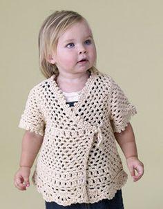 Crochet sweater with free pattern from Lion Brand Crochet Toddler, Crochet Girls, Crochet Baby Clothes, Crochet For Kids, Crochet Gratis, Free Crochet, Knit Crochet, Crochet Jacket, Crochet Cardigan