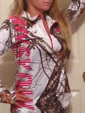 NWT WOMENS MOSSY OAK HOT PINK CAMO WHITE HUNTING PULLOVER JACKET L Large