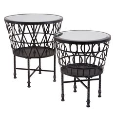 Advika Drum Mirror Accent Table Set of 2 @LaylaGrayce