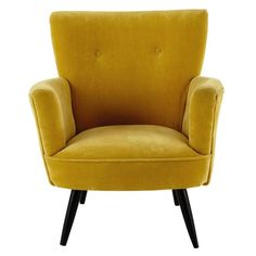 fauteuil en velours jaune sao paulo maisons du monde decoration. Black Bedroom Furniture Sets. Home Design Ideas