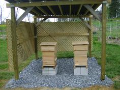 sit off the ground with gravel base - 'Facing the hive southeast is a good idea. This gives the bees the morning sun to get going, but also shelters the entrance from the hot afternoon sun, as well as cold northerly winds.' - windbreaks....watersource...'Keep their flight path out of people areas.'