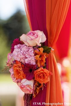 Fountain-side Fusion Indian Wedding Ceremony by STAK Photographer Duo, Mahwah… Indian Wedding Flowers, Indian Wedding Ceremony, Wedding Mandap, Indian Wedding Decorations, Ceremony Decorations, Decor Wedding, Indian Weddings, Pink Weddings, Wedding Cakes
