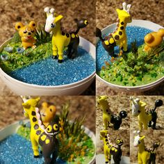 Girafarig was too tall at first but it all worked out great! #etsy #etsyshop #etsysellers #Pandanimity #Pokemon #pokerarium #pokeball #pokemonterrarium #pokeballterrarium #terrarium #handmade #diorama #pokeballdiorama #pokemondiorama #teddiursa #girafarig