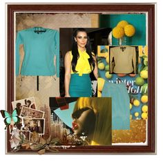 """""""Green Chic in Turquoise and Yellow"""" by greenchicdesignz on Polyvore Created 5 months ago"""