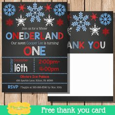 Winter Onederland Invitation Winter by PiperGraceDigital on Etsy