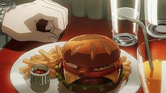 Burgers from Diners in Kekkai Sensen: Blood Blockade Battlefront Think Food, I Love Food, Food Pictures, Cute Pictures, Anime Bento, Real Food Recipes, Yummy Food, Girly Drawings, Anime Version