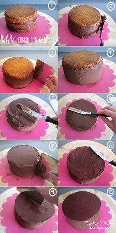Como cubrir una tarta con ganache paso a paso