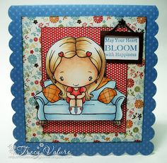 Copic card using The Greeting Farm - Sitting Lovely and Sitting Cute stamps.  Made by Tracy