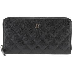 Pre-Owned Chanel A50097 Black Caviar Quilted Leather Zip-Around Wallet (€1.130) ❤ liked on Polyvore featuring bags, wallets, black, chanel, colorful bags, zip around wallet, quilted leather wallet and multi color wallet