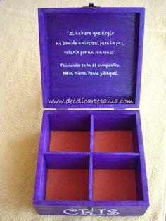 Caja de madera, decorada y personalizada.