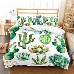 Cactus Bedding Set Tropical Plants Microfiber Duvet Cover Set with Pillowcase Print Home Bed Linen Set Bedclothes Best Duvet Covers, Duvet Cover Sets, Pillow Covers, Pillow Shams, Pillow Inserts, Cactus Bedroom, Bed Linen Sets, Luxury Bedding Sets, Unique Bedding