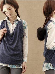 cotton and linen sweater vest