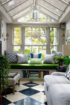Nothing more appropriate for a garden designer than a conservatory! The green window seat is the perfect spot for to… Conservatory Interiors, Conservatory Design, Conservatory Ideas Interior Decor, Conservatory Ideas Sunroom, Conservatory Lighting, Conservatory Kitchen, Wakefield, Design Loft, House Design