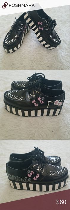 Hello Kitty x TUK limited edition creepers Wrapped stripped creepers with Hello Kitty details. Like new condition, has small scratches on the heels. Hello Kitty Shoes Platforms