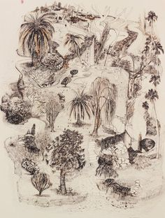 Brett Whiteley, Lindfield gardens II pen and brown ink, brush and brown ink Landscape Drawings, Landscape Art, Art Drawings, Landscapes, Drawing Art, Drawing Ideas, Landscape Paintings, Contemporary Australian Artists, Australian Painting