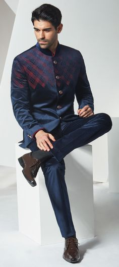 25995fbef1b 506260 Blue color family Jodhpuri Suit in Velvet fabric with Thread work .  Fancy Buttons,