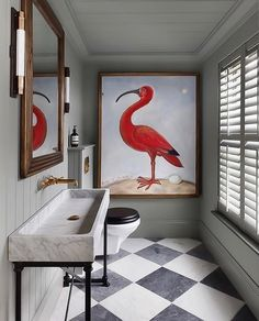Bathroom grey + white checkerboard marble floor grey shiplap walls brass wall mounted faucet bronze mixed metals large pink bird print - Decoration For Home Bathroom Grey, Classic Bathroom, Quirky Bathroom, Red Bathrooms, British Bathroom, Narrow Bathroom, Luxury Bathrooms, Bathroom Modern, Minimalist Bathroom