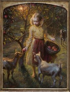 Apples And Goats ~ Morgan Weistling Paintings I Love, Beautiful Paintings, Morgan Weistling, Watercolor Scenery, Traditional Paintings, Traditional Art, Art Et Illustration, Classical Art, Figurative Art