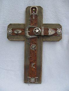 """handcrafted WESTERN cross, aged cedar wood, leather belt cross, western wall decor, Southwest cross,11""""X16"""". $70.00, via Etsy."""