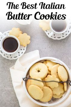 A buttery simple Italian Cookie. This is the easiest butter cookie recipe! Serve this easy cookie recipe as a holiday cookie or with tea or coffee in the afternoon. Try making these easy Italian Butter Cookies for afternoon tea, or anytime! #buttercookies #cookies Cookie Desserts, Easy Desserts, Cookie Recipes, Delicious Desserts, Dessert Recipes, Yummy Food, Bar Recipes, Italian Desserts, Italian Recipes