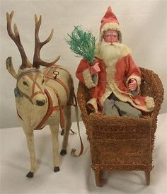 Antique German Father Christmas with Reindeer Candy Container and Sleigh C1910