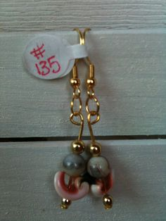 Natural Shell Loop Earrings with Orange/Gray Stones by GodsGlitter, $10.00