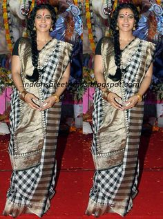 Latest Traditional and Designer Sarees: Kajol in Checked Traditional silk saree